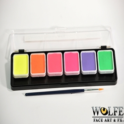 6 Color Face Paint Palette Neon